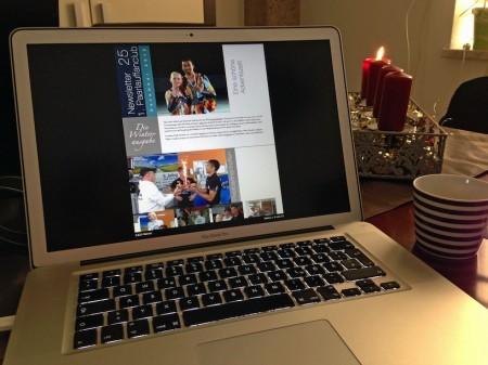 Arbeit am Newsletter Dezember für Dezember auch am 1. Advent