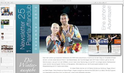 Das Titelblatt der Winterausgabe vom Newsletter des Fanclubs
