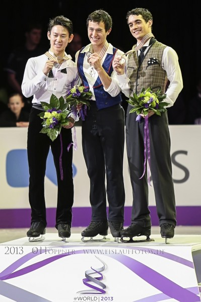 Siegerehrung Denis TEN (KAZ) , Patrick CHAN (CAN) , Javier FERNANDEZ (ESP)