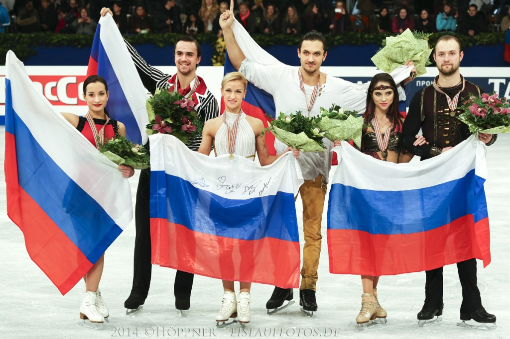 2 Ksenia STOLBOVA , Fedor KLIMOV (RUS) , 1 Tatiana VOLOSOZHAR , Maxim TRANKOV (RUS) , 3 Vera BAZAROVA , Yuri LARIONOV (RUS)