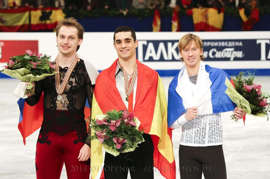 Die Medaillengewinner:   2 Sergei VORONOV , 1 Javier FERNANDEZ, 3 Konstantin MENSHOV